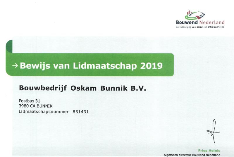 Certificaat Bouwend nederland Lidmaatschap 2019